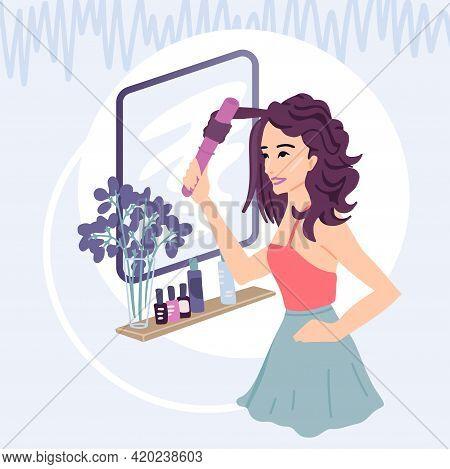 Curling Hair, Styling, Curls, Hair Car, Girl Smiles In The Mirror, Beautiful Hair, Cosmetic Hair Car