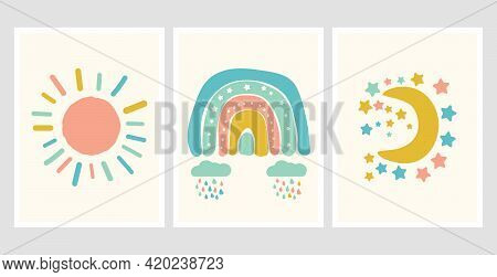 Scandinavian Style Cute Posters With Rainbow, Cloud And Sun. Childish Drawing For Nursery Design. Ca