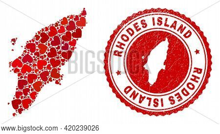 Mosaic Rhodes Island Map Composed With Red Love Hearts, And Rubber Stamp. Vector Lovely Round Red Ru