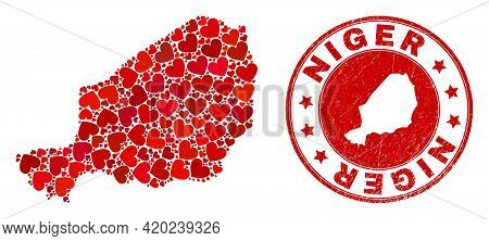 Mosaic Niger Map Formed With Red Love Hearts, And Scratched Seal. Vector Lovely Round Red Rubber Sea