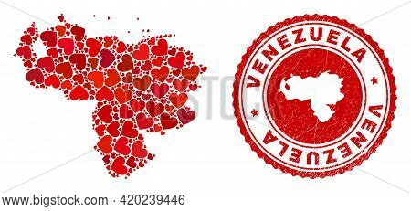 Mosaic Venezuela Map Designed With Red Love Hearts, And Corroded Seal. Vector Lovely Round Red Rubbe
