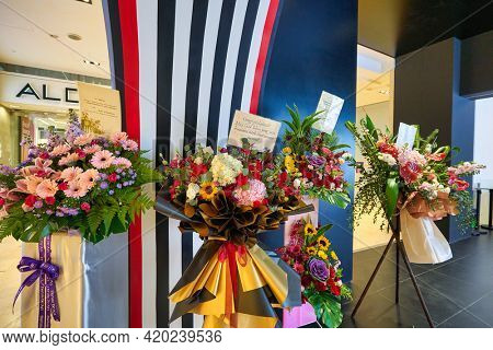 KUALA LUMPUR, MALAYSIA - JANUARY 18, 2020: opening ceremony flowers at Sephora store in Fahrenheit 88 shopping mall in Kuala Lumpur.
