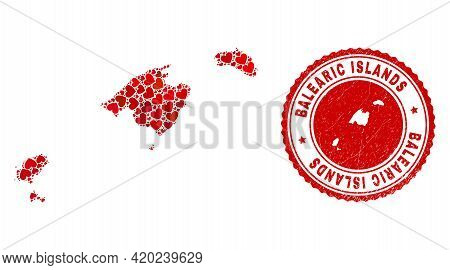 Collage Balearic Islands Map Designed With Red Love Hearts, And Rubber Seal Stamp. Vector Lovely Rou