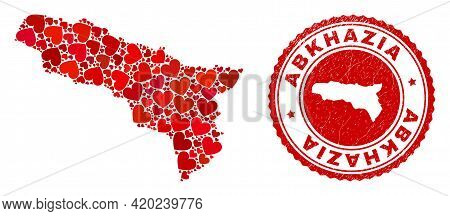 Mosaic Abkhazia Map Created With Red Love Hearts, And Corroded Seal Stamp. Vector Lovely Round Red R