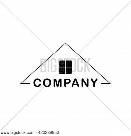 Roof House Logo Design Template For Real Estate, Construction, Roofing. Vector Clipart And Drawing.