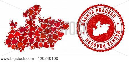 Mosaic Madhya Pradesh State Map Formed With Red Love Hearts, And Unclean Seal Stamp. Vector Lovely R