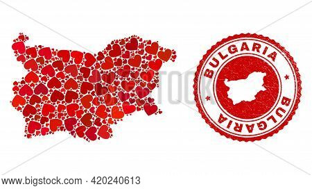 Collage Bulgaria Map Formed With Red Love Hearts, And Textured Seal Stamp. Vector Lovely Round Red R