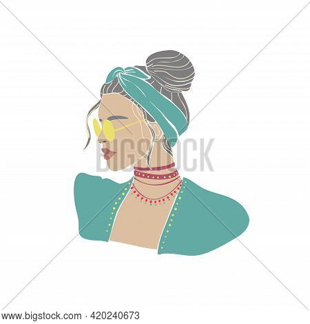 Trendy Girl Hat Glasses Drawn, Great Design For Any Purposes. Beauty Fashion Design. Summer Icon. Be