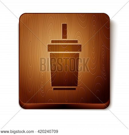 Brown Paper Glass With Drinking Straw And Water Icon Isolated On White Background. Soda Drink Glass.