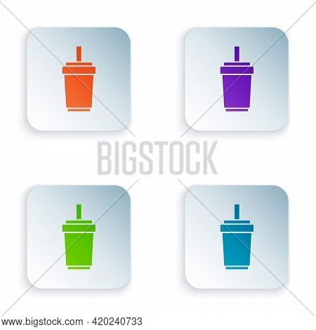 Color Paper Glass With Drinking Straw And Water Icon Isolated On White Background. Soda Drink Glass.