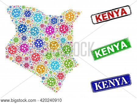 Vector Virus Collage Kenya Map, And Grunge Seals. Vector Vibrant Kenya Map Mosaic, And Scratched Fra