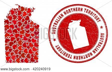 Collage Australian Northern Territory Map Composed With Red Love Hearts, And Dirty Seal Stamp. Vecto
