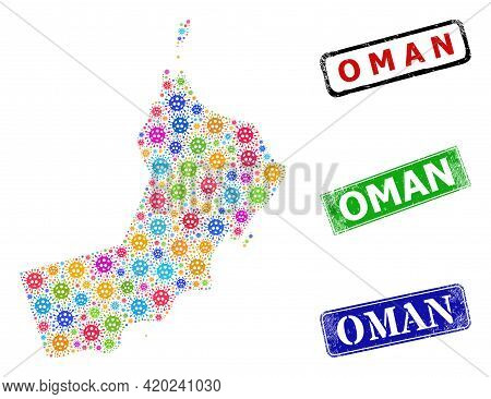 Vector Covid-2019 Collage Oman Map, And Grunge Badges. Vector Multi-colored Oman Map Collage, And Di