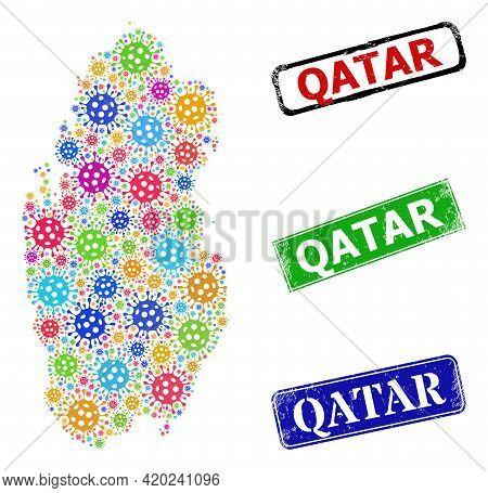 Vector Bacilla Mosaic Qatar Map, And Grunge Seals. Vector Vibrant Qatar Map Mosaic, And Grunge Frame