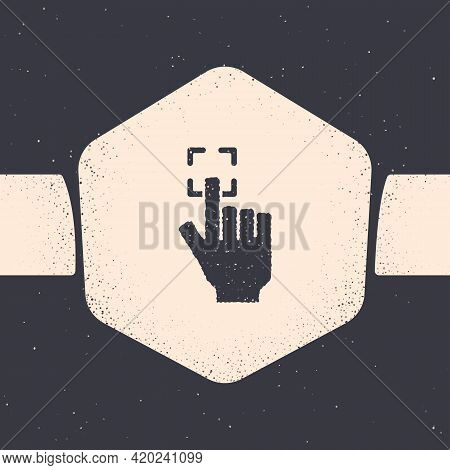 Grunge Fingerprint Icon Isolated On Grey Background. Id App Icon. Identification Sign. Touch Id. Mon