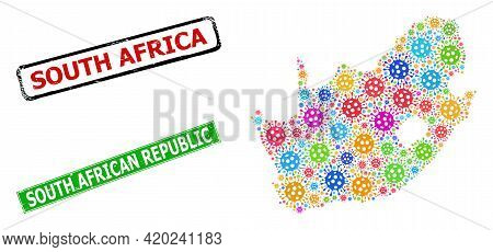 Vector Bacilla Collage South African Republic Map, And Grunge Badges. Vector Multi-colored South Afr