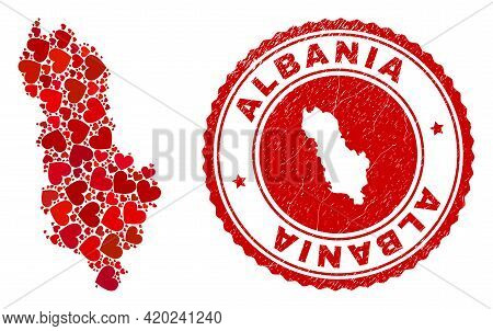 Collage Albania Map Formed With Red Love Hearts, And Scratched Stamp. Vector Lovely Round Red Rubber