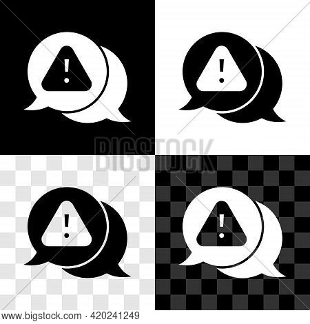 Set Exclamation Mark In Triangle Icon Isolated On Black And White, Transparent Background. Hazard Wa