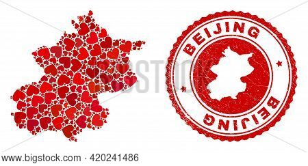 Mosaic Beijing City Map Composed From Red Love Hearts, And Rubber Stamp. Vector Lovely Round Red Rub