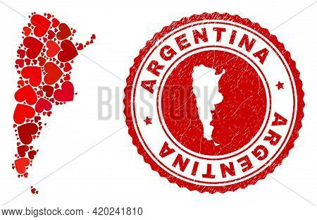Mosaic Argentina Map Formed With Red Love Hearts, And Rubber Badge. Vector Lovely Round Red Rubber S