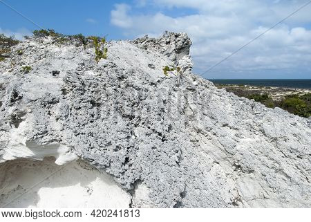 The Eroded Rock Formation And An Aerial View Of Grand Turk Island Shore (turks And Caicos Islands).