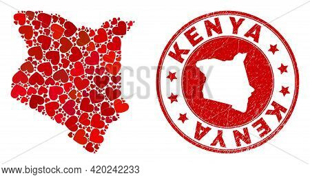 Mosaic Kenya Map Composed With Red Love Hearts, And Scratched Stamp. Vector Lovely Round Red Rubber