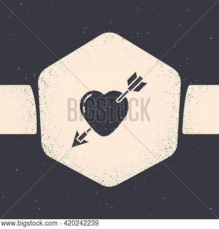 Grunge Amour Symbol With Heart And Arrow Icon Isolated On Grey Background. Love Sign. Valentines Sym