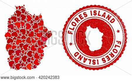Mosaic Flores Island Of Azores Map Created From Red Love Hearts, And Rubber Seal. Vector Lovely Roun