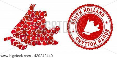 Mosaic South Holland Map Designed With Red Love Hearts, And Corroded Seal Stamp. Vector Lovely Round