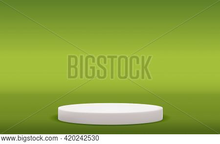 Realistic 3d Pedestal Over Vivid Background. Trendy Empty Podium Display For Ads Cosmetic Product Pr
