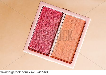 Eyeshadow Powder Or Blush Makeup Palette As Flat Lay Isolated On Golden Background, Beauty Eye Shado