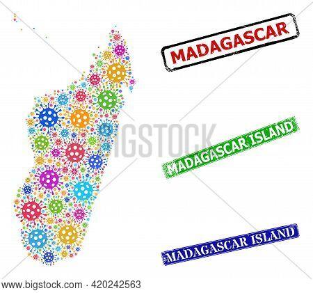 Vector Contagious Collage Madagascar Island Map, And Grunge Madagascar Island Stamps. Vector Colored