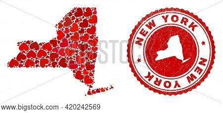 Collage New York State Map Created With Red Love Hearts, And Dirty Seal. Vector Lovely Round Red Rub
