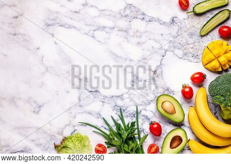 Healthy Vegetables And Fruits  Background With Copy Space.
