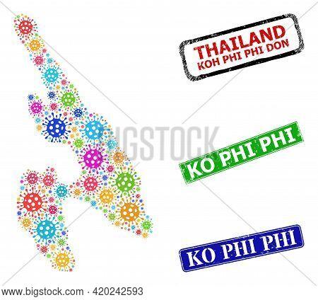 Vector Covid Mosaic Koh Phi Don Map, And Grunge Ko Phi Seals. Vector Multi-colored Koh Phi Don Map M