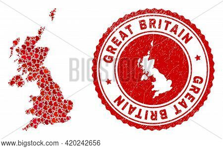 Mosaic United Kingdom Map Created With Red Love Hearts, And Rubber Seal Stamp. Vector Lovely Round R