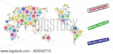 Vector Covid-2019 Collage Worldwide Map, And Grunge Worldwide Seal Stamps. Vector Multi-colored Worl