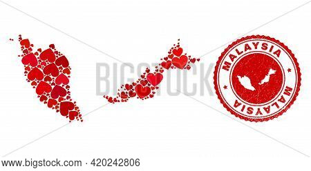 Collage Malaysia Map Composed With Red Love Hearts, And Grunge Seal. Vector Lovely Round Red Rubber