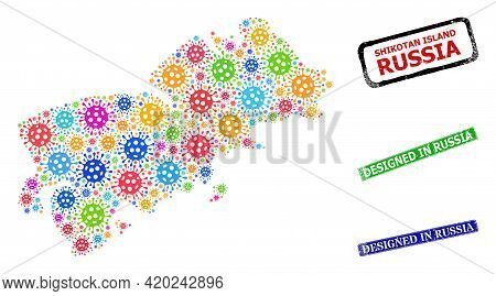 Vector Infection Mosaic Shikotan Island Map, And Grunge Designed In Russia Seals. Vector Colored Shi