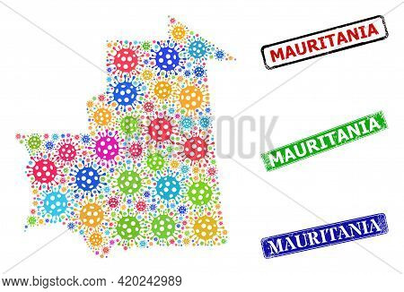 Vector Cell Mosaic Mauritania Map, And Grunge Mauritania Badges. Vector Colorful Mauritania Map Mosa
