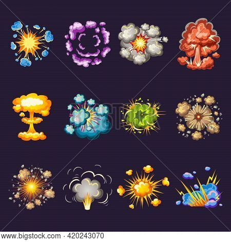 Comic Explosions Decorative Icons Set With Blast Waves Circles Of Smoke On Black Background Isolated