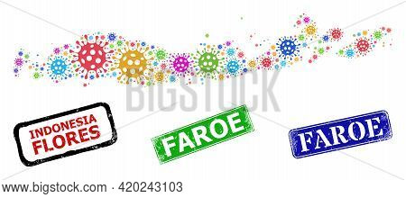 Vector Virulent Collage Flores Islands Of Indonesia Map, And Grunge Faroe Stamps. Vector Vibrant Flo