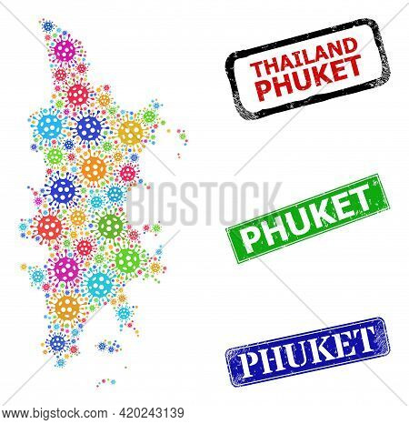 Vector Cell Mosaic Phuket Map, And Grunge Phuket Seals. Vector Multi-colored Phuket Map Collage, And