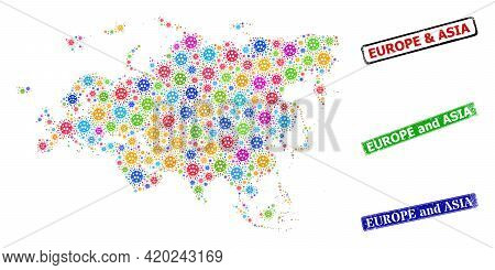 Vector Infection Mosaic Europe And Asia Map, And Grunge Europe And Asia Badges. Vector Colored Europ