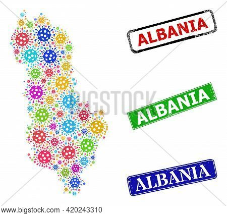 Vector Covid-2019 Collage Albania Map, And Grunge Albania Seal Stamps. Vector Colorful Albania Map C
