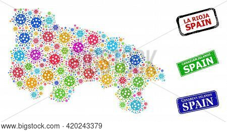 Vector Cell Collage La Rioja Of Spain Map, And Grunge Canarian Islands Spain Seal Stamps. Vector Col