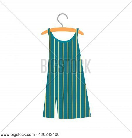 Sundress Dress, Women Trendy Dress With Abstract Yellow Lines. Vector Illustration. Isolated On A Wh