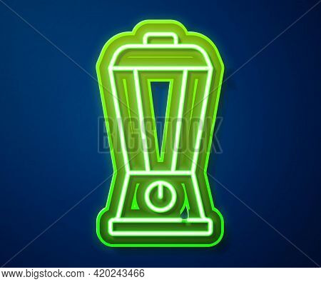 Glowing Neon Line Blender Icon Isolated On Blue Background. Kitchen Electric Stationary Blender With