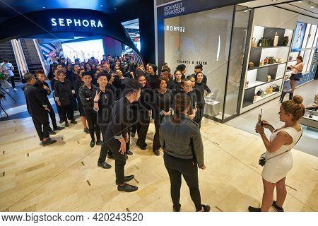 KUALA LUMPUR, MALAYSIA - JANUARY 18, 2020: people at Sephora store in Fahrenheit 88 shopping mall in Kuala Lumpur.