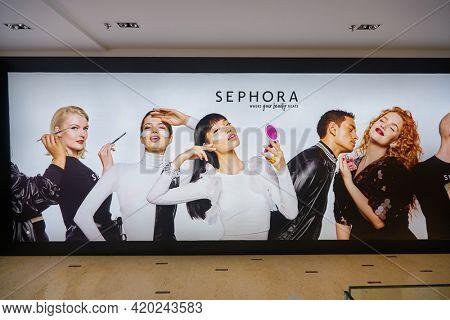 KUALA LUMPUR, MALAYSIA - JANUARY 18, 2020: Sephora ad as seen in Fahrenheit 88 shopping mall in Kuala Lumpur.